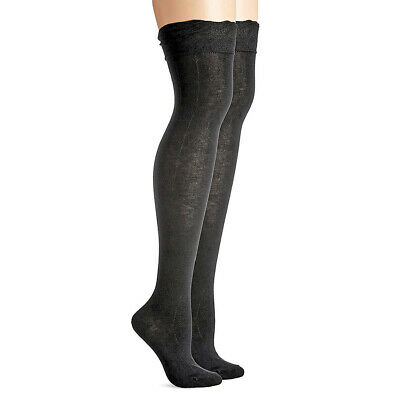 STEVE MADDEN Legwear Ruffle Cuff Over-The-Knee Boot Sock Charcoal Gray NWT 9-11