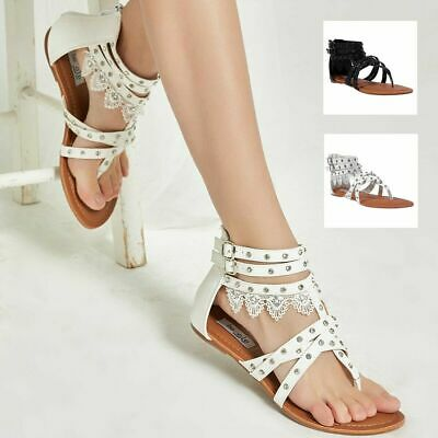 f0e3b141d SheSole Womens Casual Flat Gladiator Sandals Lace Beach Wedding Shoes Flip  Flops