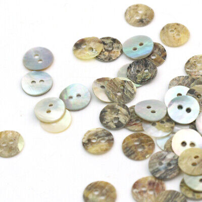 Lot of 100pc Mother of Pearl Shell Buttons Sewing 2 Holes Round 10mm grg