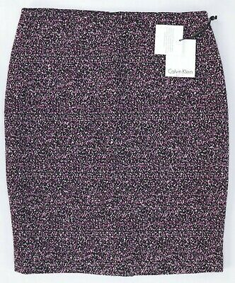 8a1b62e3ee NWT $89 Calvin Klein Pencil Skirt Violet-Pink-Black-White Tweed Lined,