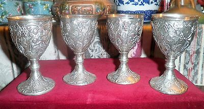 Corbell and Co. Silverplate Repousse *Angles, Grape & Leaf Design* Cordials Wine