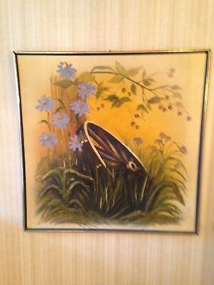Retro Hollywood Regency MCM 1970's Large Canvas Wall Painting