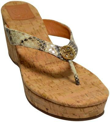 e205d63f4d9 Tory Burch Suzy Snake Print Leather Thong Sandals Cork Wedge Size 9 GREAT!