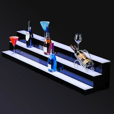 "60"" LED Lighted Back Bar Glowing Liquor Bottle Display Shelf Glowing 3 Step Tier"