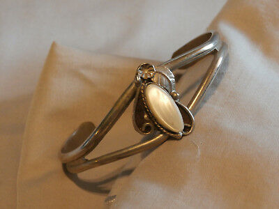 Vintage Nickel Silver Cuff Bracelet With MOP and Leaf Motif Native Style