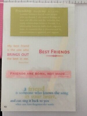 Transfer Tiles - Rub Ons - Best Friends Song In Your Heart Born My Friendship