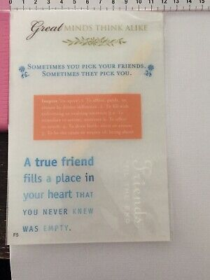 Transfer Tiles - Rub Ons - Great Minds Think Alike True Friend Place Your Heart