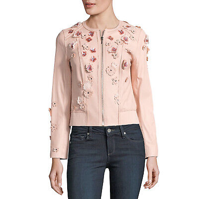 ELIE TAHARI Leather Floral Applique GLENNA Jacket Ballerina (blush pink) • LARGE
