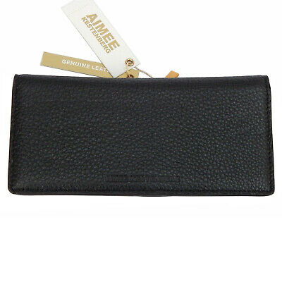AIMEE KESTENBERG Pebbled Leather Slimline Bi-fold MARIETTA Wallet • Black • NWT
