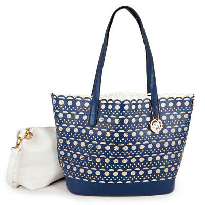 GIOVANI & RUCCI Navy & White Reversible Laser Cut Perforated Tote & Shoulder Bag