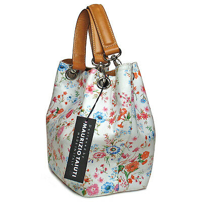 MAURIZIO TAIUTI Made in Italy Floral Print Genuine Leather Handbag Hand Bag NWT
