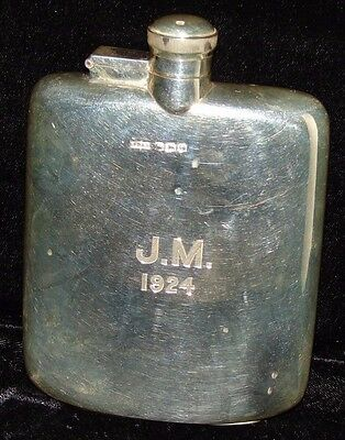 1922 Sterling Silver Flask James Dixon & Sons Curved Body Perfect Condition