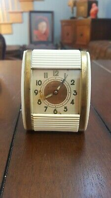 Vintage WESTCLOX 1950's Travel Alarm Clock Roll Door Mid Century Wind Up White