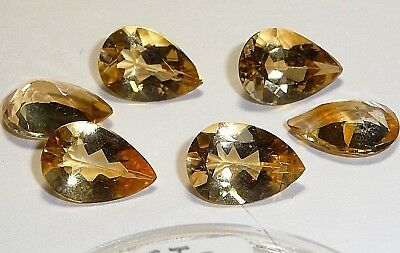 Citrine Golden-yellow Pear cut,CI-A01,13x9x6mm,27.41cttw,3.43ct ea(8pc)