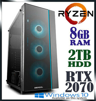 AMD Ryzen 5 2600 6-Core RTX 2070 8GB RAM 2TB Desktop Computer Gaming PC bt i7