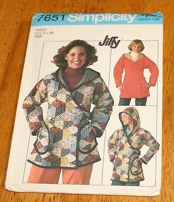 Simplicity Pattern #7651 MISSES UNLINED HOODED JACKET Vintage Uncut Size 8-10