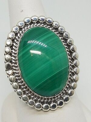 Running Bear RB Sterling Silver Large Oval Green Malachite Ring Size 10