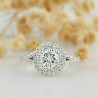 Certified 3Ct Round Diamond Double Halo Engagement Ring In Solid 14k White Gold
