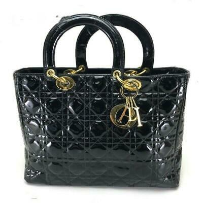 867191255577 CHRISTIAN DIOR BLACK Quilted Cannage Patent Leather Extra Large Lady ...