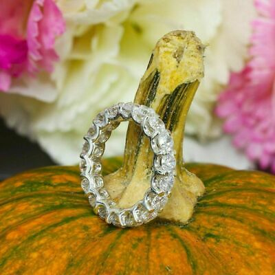 Certified 4.00Ct Round Cut Diamond Eternity Engagement Band 14k White Gold