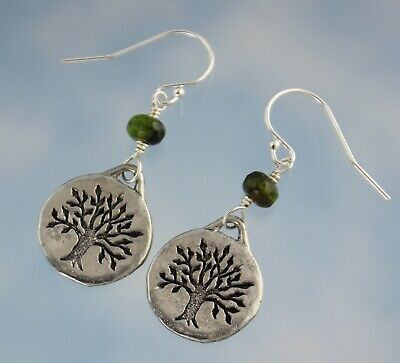 Celtic Tree of Life Earrings- Pewter Discs, Green Glass, Sterling silver hooks