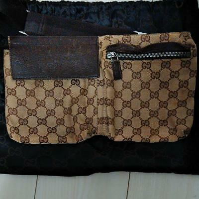 e2f6643497453 GUCCI Waist Pouch Bumbag Bum Belt Bag Cross Body Fanny Pack Brown Used Ex+