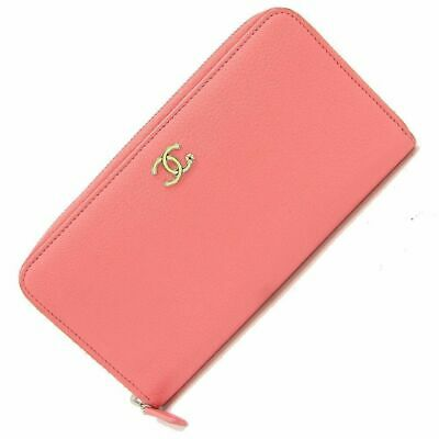0144efc11941 Chanel Round Zipper Long Wallet Lucky Clover Leather Wallet Coral Pink Auth