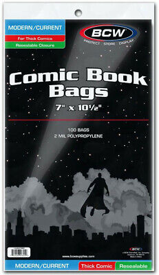 Bcw Comic Book Bags Resealable Modern/current Comic Books Thick (7 . - BRAND NEW