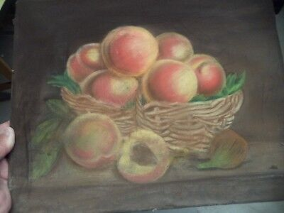 Ancienne Peinture Pastel Nature Morte Corbeille De Fruits    French Antique