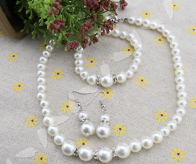 Vintage Style Pearl Diamante Jewellery Set Bride Bridesmaid Wedding Favour