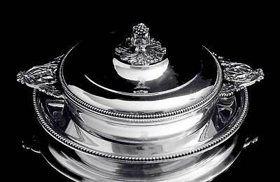 Odiot Louis Xvi Covered 950 Sterling Silver Vegetable Server + Platter 1850-1899