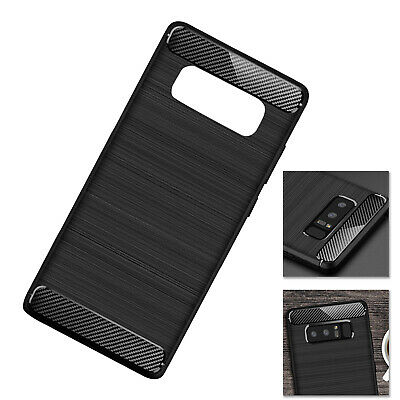 Black ShockProof Silicone Carbon Rugged Case Cover for Samsung Galaxy Note 8