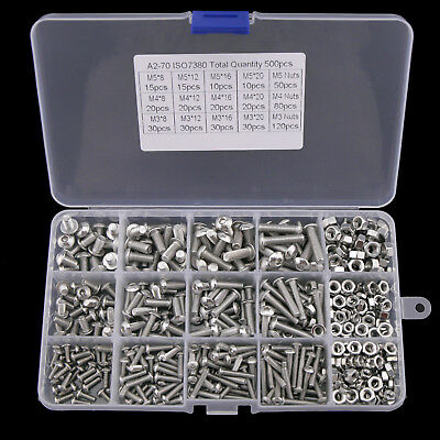 500Pcs Stainless Steel Hex Socket Head Bolts Screws Nut Set M3 M4 M5 Size