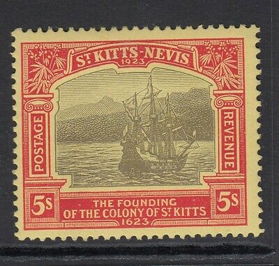 ST KITTS & NEVIS-1923 5/- Black Red/Pale Yellow  mounted mint  Sg 59