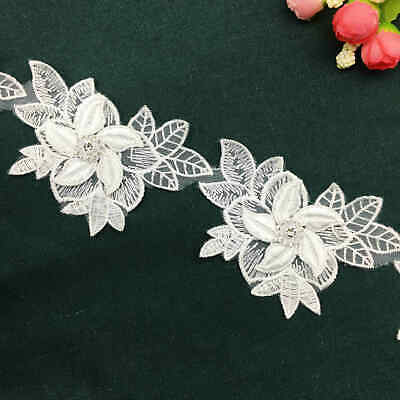 1 yard 3D Diamond Flower Leaves Lace Edge Trim Embroidered Wedding Ribbon Sewing