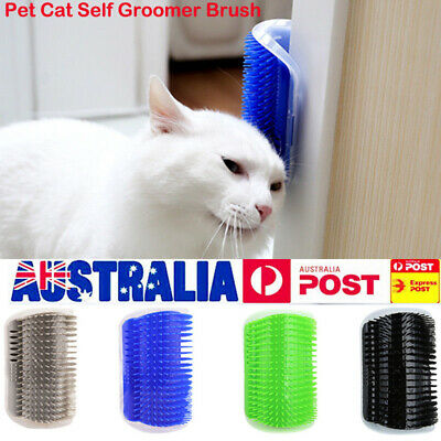 Pet Cat Self Groomer Brush Scratching Wall Corner Grooming Hair Fur Comb Massage