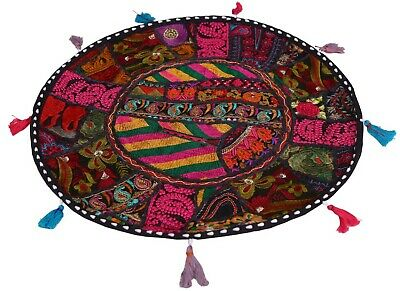 """22"""" Indian Vintage Floor Pillow Cover Throw With Bohemian Patchwork Home Decor"""
