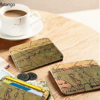 Map Pattern Wallet For Passport Travel Documents ID Credit Card Holder Case Coin