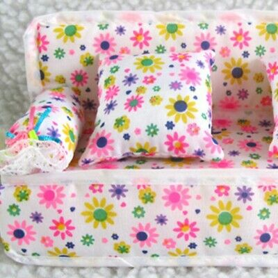 Mini Furniture Floral Sofa Couch+2 Cushion For Barbie Doll House Accessories DIY
