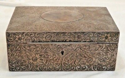 Antique Sterling Silver Box with Etched Flower Details Hallmarked S&E