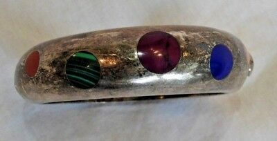 Heavy Mexican Sterling Silver Bracelet with Lapis & Malachite Inlay Stones