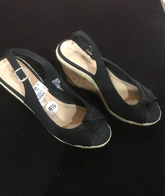 6cb68f8d379 SEYCHELLES WOMENS ESPADRILLE Wedges Black Shoes Sandals Canvas 8.5