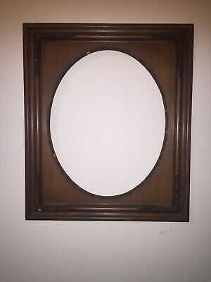 Vintage Architectural Salvage Wooden Picture Frame with Oval Center #2