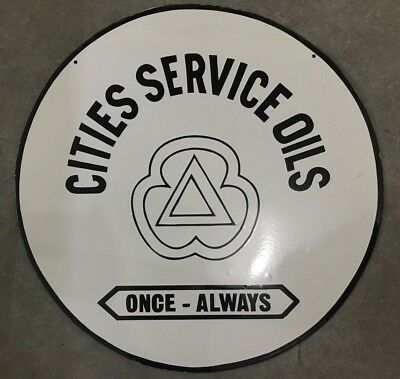 """Porcelain Cities Service Oils SIGN Size 30"""" Inches Double Sided"""
