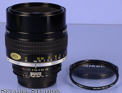 Nikon 105Mm Nikkor F1.8 Ais Black Lens +Caps +Filter Mint Clean