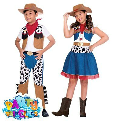 Kids Cowboy Cowgirl Costume Girls Boys Western Wild Story Fancy Dress Outfit