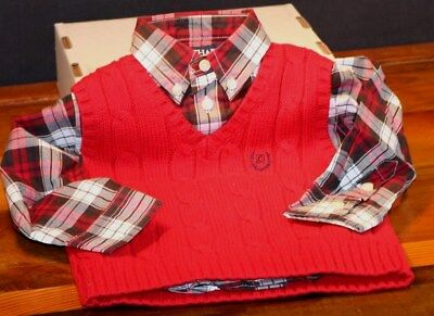 Toddler Boys Chaps Front Button Shirt & Red Vest  Size 18 month