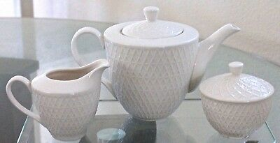 Grace's Teaware Teapot Creamer & Lids Sugar Set Chevron Bone White New Porcelain