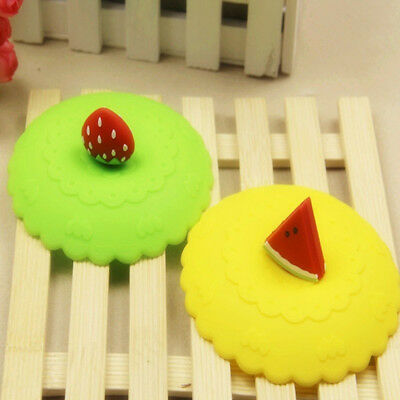 Cute Anti-dust Suction Leakproof Silicone Coffee Mug Lid Fruit Glass Cup Cover