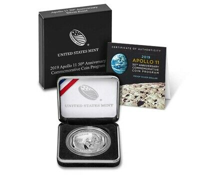 2019 P Apollo 11 50th Anniversary Curved Coin Proof Silver Dollar